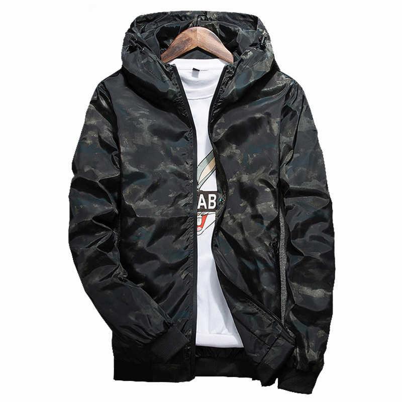 2021春秋メンズカジュアル迷彩パーカージャケット男性防水服メンズウインドブレーカーコートの男性生き抜くプラスサイズ4XL