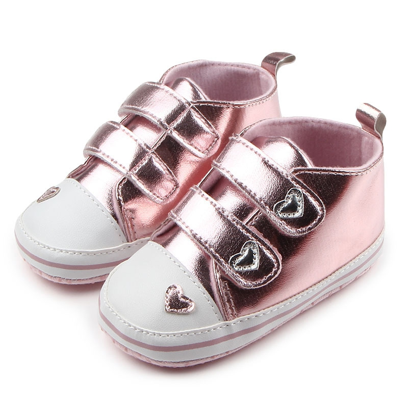 Bling Baby Girl Shoes Classic Heart-shaped PU Leather Baby Shoes Tennis Lace Up Autumn Spring Newborn First Walkers