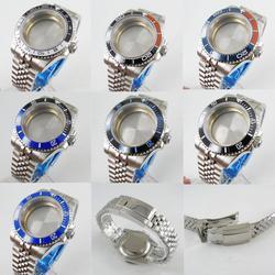 Fit NH35/NH36 Hohe Qualität 40mm Uhr Fall Sapphire Glas Ohne Lupe + Uhr Jubilee Strap Dreh Lünette