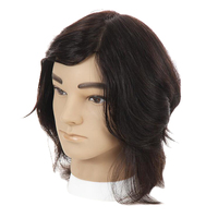 Cosmetology Male Mannequin Head with Real Human Hair for Barber Shops Styling Cutting Practicing