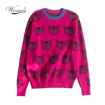 High Quality Runway Designer Cat Print Knitted Sweaters Pullovers Women Autumn Winter Long Sleeve Harajuku Sweet Jumper C-192 1