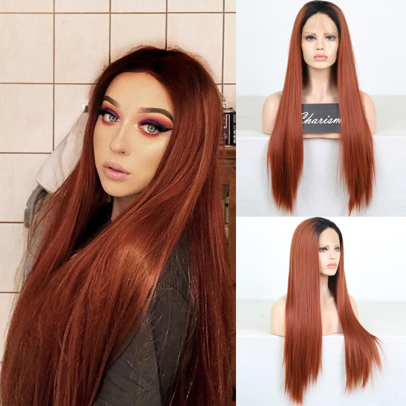 Carisma Lungo Rettilineo di Rame Rosso Parrucche Parrucca Anteriore Del Merletto Sintetica di Alta Temperatura Parrucche di Capelli Per La Moda Le Donne della Parte Centrale
