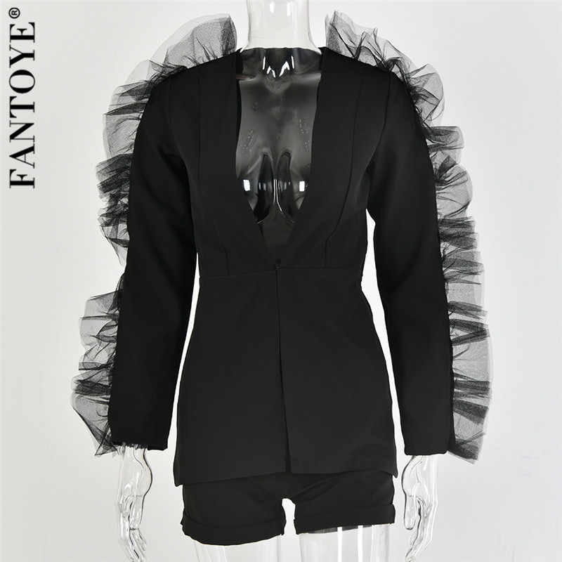 FANTOYE новый модный кружевной гофрированный комплект из двух предметов женский жакет с v-образным вырезом костюмы из 2 предметов Женский комплект 2019 осенний элегантный костюм знаменитостей