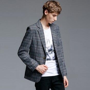 New Plaid Mens Blazer Luxury Single Buttons Blazer Men Spring And Autumn Veste Homme Costume Blazer Masculino Slim Fit
