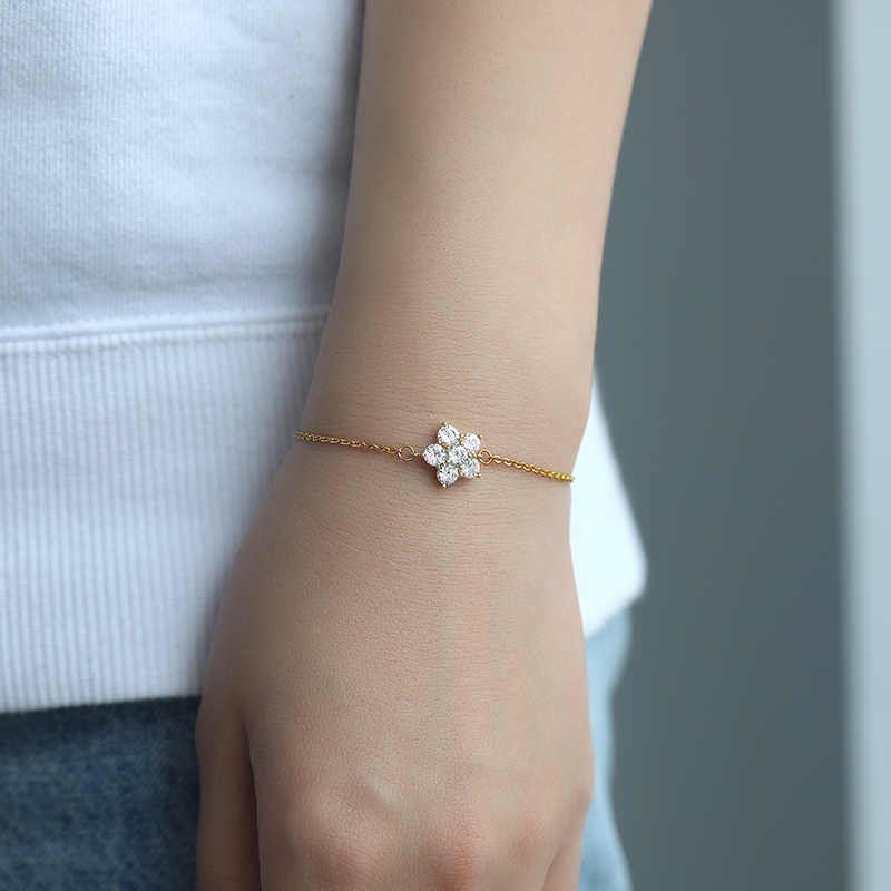 Minimal Flower Bracelet Femme Stainless Steel Crystal Bracelets For Women Dainty Jewelry Rose Gold Accessories Bridesmaid Gifts
