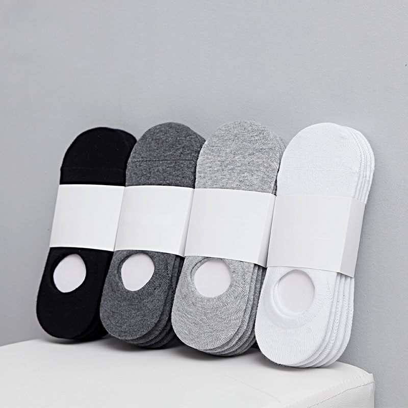 5Pair/lot Fashion Happy Men Boat Socks Summer Autumn Non-slip Silicone Invisible Cotton Socks Male Ankle Sock Slippers  Cheap