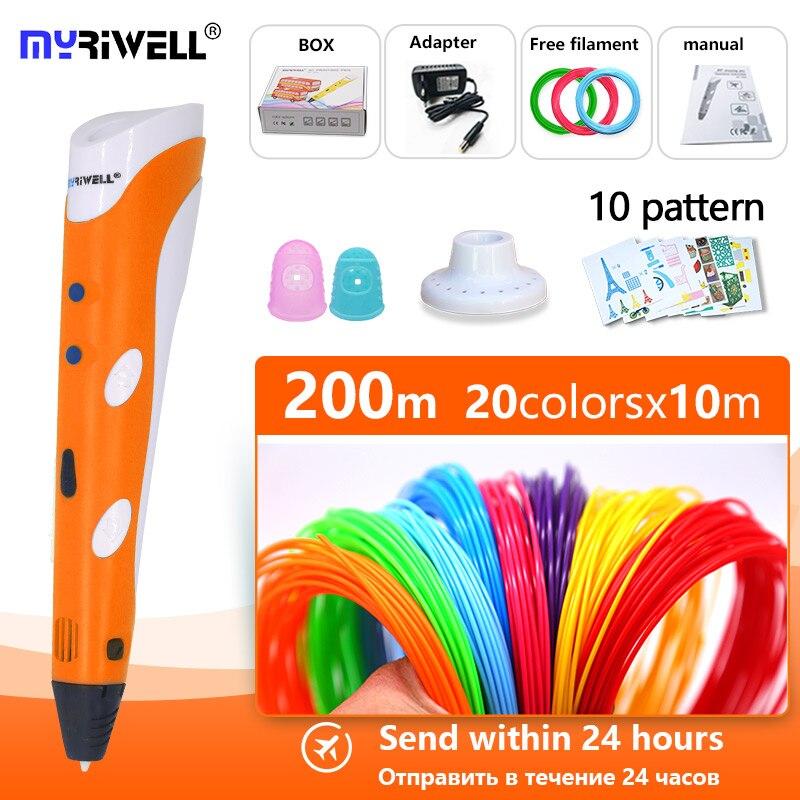 Myriwell 3d Penna V1 1.75 Millimetri Abs Filamento Pla 3d Pen Stampa 3D Penna Intelligente Regalo Del Bambino Regalo di Compleanno abs di Plastica Pla 3D Maniglia