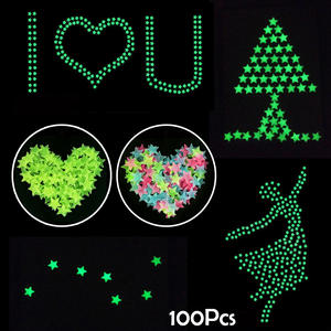 Wall-Stickers Home-Decoration Glow-In-The-Dark 3D 100pcs for Kids Living-Room Poster-Ornaments
