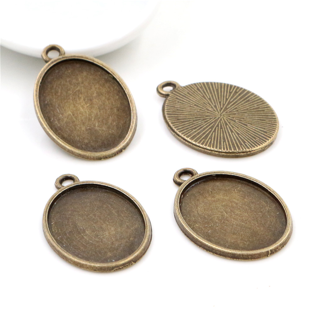 10pcs 18x25mm Inner Size Antique Bronze Classic Style Cameo Cabochon Base Setting Charms Pendant Necklace Findings  (C3-37)