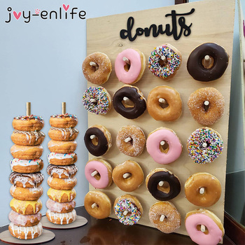 Wooden Donut Wall Stand Doughnut Holder Baby Shower Kid Birthday Party Decor Donut Party Decoration Wedding Event Party Supplies wooden wall holds donut boards stand hanging donuts table wedding decoration accessories baby shower kids birthday party decor