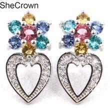 London Blue Topaz, White Topaz Womans Wedding 925 Silver Earrings 41x22mm