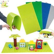Huiqibao 4 cor 51*25.5cm compatível grandes tijolos placa de base diy grande bloco de construção da cidade brinquedos para crianças