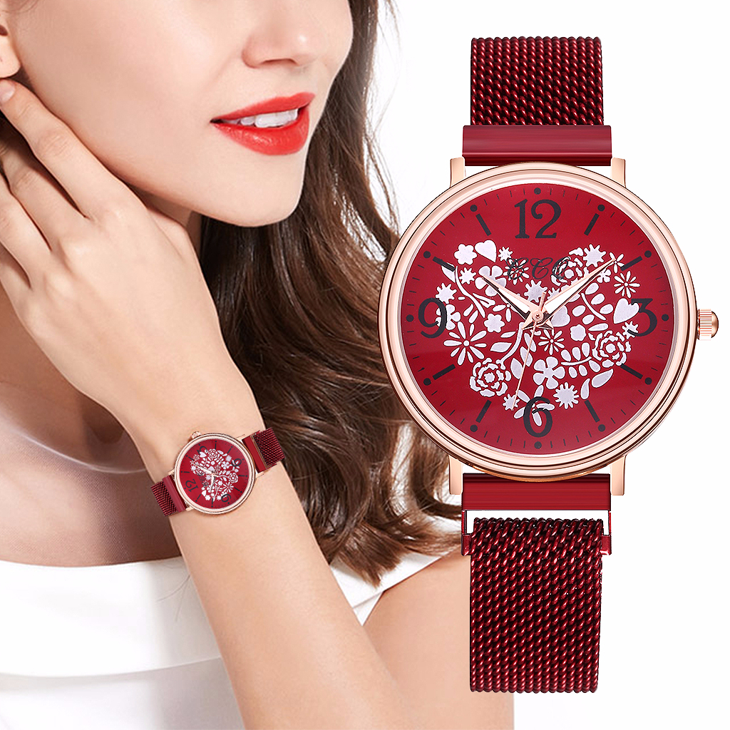 Women Magnet Buckle Love Heart Watch Luxury Ladies Stainless Steel Quartz Watch CCQ Brand Relogio Feminino
