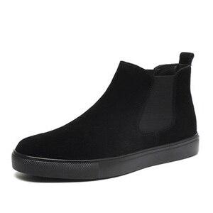 Image 2 - Grote omvang mannen casual warme snowboots buiten koe leer katoen winter schoenen flats platform enkellaars chelsea botas sapatos
