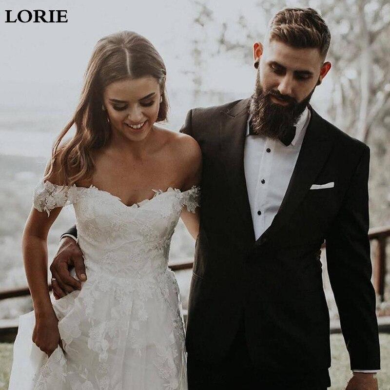 LORIE Lace Wedding Dresses 2019 Off The Shoulder Appliques A Line Bride Dress Princess Wedding Gown Robe De Mariee