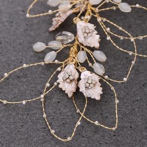 Image 5 - ローズゴールドティアラヘッドバンドクリップブライダルヘアアクセサリーラインストーンリーフブライダルティアラウェディングヘッドバンド金属結婚式の髪の宝石