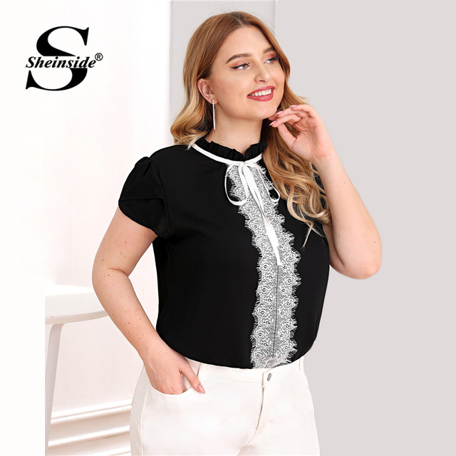 Sheinside Plus Size Elegant Contrast Lace Trim Blouse Women 2019 Summer Petal Sleeve Blouses Ladies Lace Up Frilled Neck Top 3