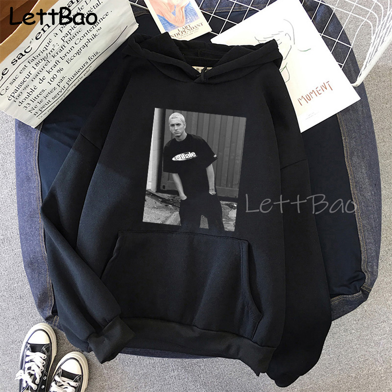 Eminem Cool Black Unisex Hoodies Sweatshirt Hip Hop Rap Punk Style Tops Pullover HipHop Rock Gothic Winter Coat Women Men Hoodie 7