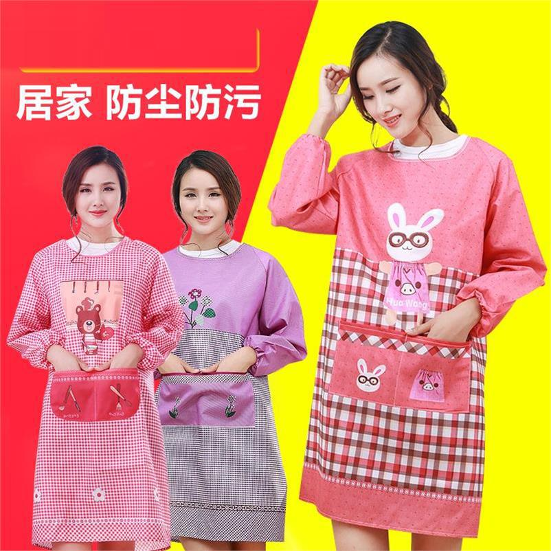 Apron Kitchen Waterproof Fang You Dai New Style Work Breathable Cute Antifouling Long Sleeve Into Protective Clothing Adult Jack