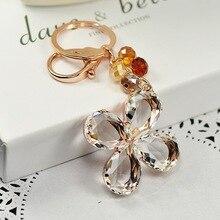 Lucky Clover Crystal Keychain Car Bag Accessories Creative Korean Edition Beautiful Jewelry