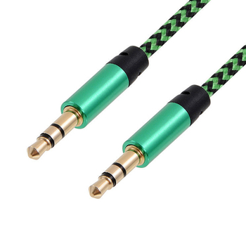 1m Nylon Jack Audio Cable 3.5 Mm To 3.5mm Aux Cable Male To Male Gold Plug Car Cord For IPhone Xiaomi Computer image