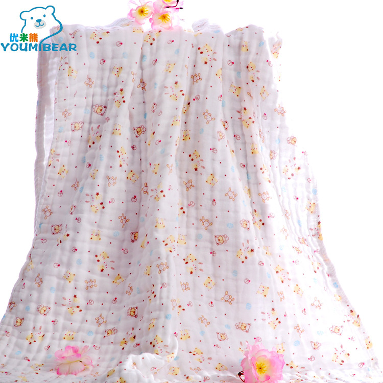 Quality Rice Bear Four Layer Washing Gauze BABY'S Bath Towel Cotton Baby Children Gauze Coated 85*85