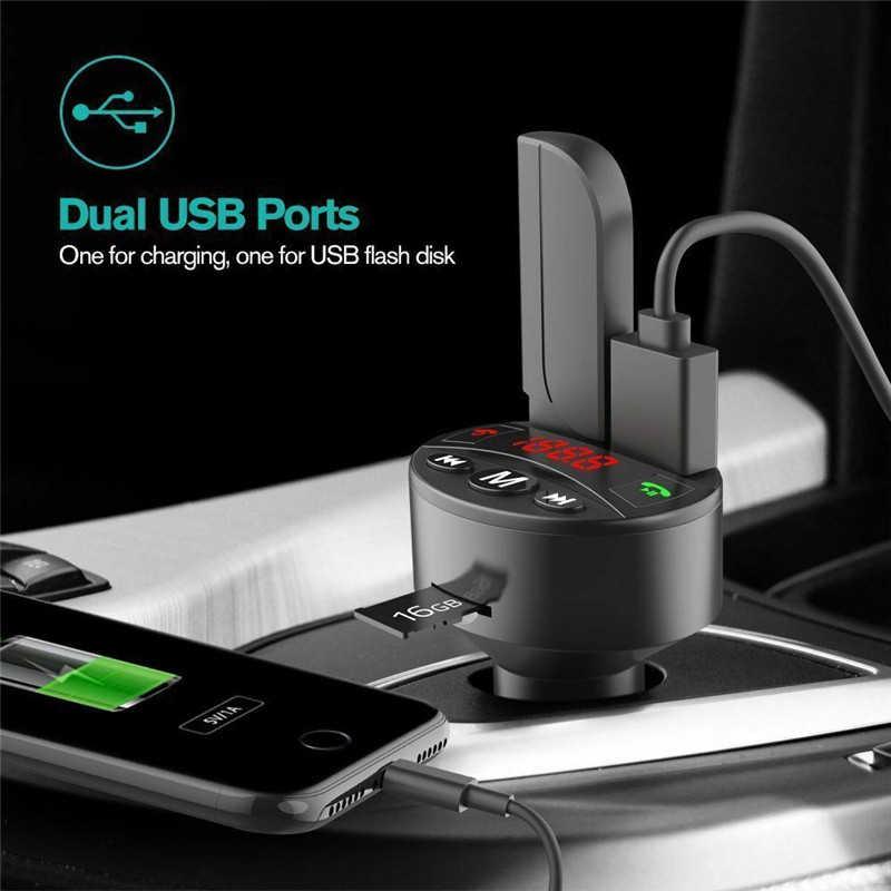 ใหม่รถ MP3 เครื่องเล่นบลูทูธ FM Transmitter SD AUX แฮนด์ฟรีเสียง Modulator Kit Dual USB Car Quick Charger อุปกรณ์จัดแต่งทรงผม