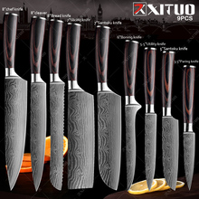 Kitchen Knife Chef Japanese Cooking Complete Damascus-Pattern Utility Sharp XITUO Santoku