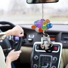 Cat Car Hanging Ornament Ballons Colorful Acrylic Hanging Ornament Car Interior Cartoon Rearview Mirror Pendant Cat Car Balloon