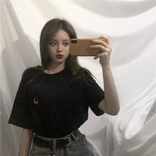Fox Mrs. Summer Ulzzang Harajuku BF Style Versatile Vintage Moon Embroidered Loose-Fit Solid Color Couples Short Sleeved T-shirt(China)