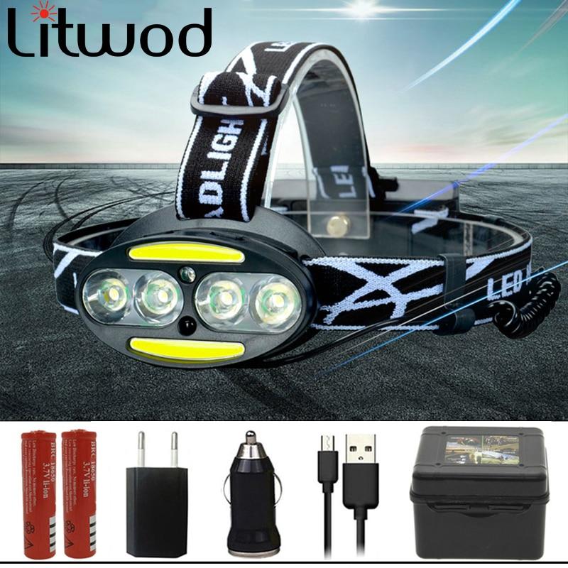 Most Power LED HeadLamp 4* XML- T6 +2* COB Headlight 8000 Lumen Head Lamp Sensor Switch Light Lanterna 18650 Battery For Camping