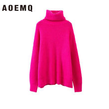 AOEMQ Autumn and Winter New Long Solid Colors Thick Sweater Knit Fluorescent High Collar Loose Pullover Sweater Female(China)