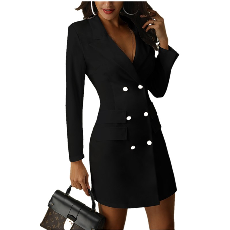 arrival Women's Autumn Winter Button V-Neck Long Sleeve Warm Long Slim Fit Jacket Solid Elegant Casaul Office Work Party Coat