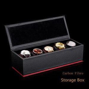Image 1 - 5 חריצי עור שעון אחסון קופסות מקרה שחור פחמן סיב שעון ארגונית גברים של שעון מכאני אחסון מתנת מקרה