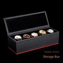 Caja de almacenamiento de reloj de cuero con 5 ranuras, organizador de reloj de fibra de carbono negro, caja de regalo de almacenamiento de reloj mecánico para hombre