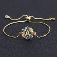 2020 New Fashion A-Z Initial Copper Cubic Zircon Colorful Letter Bracelets Adjustable Chain Rainbow Jewelry  For Women Best Gift