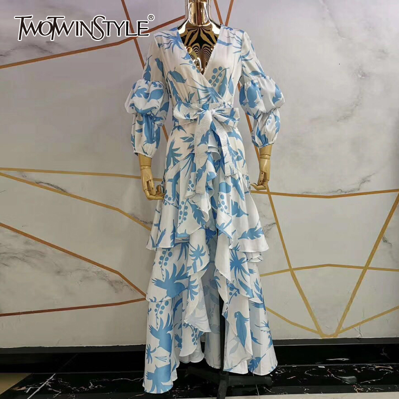 TWOTWINSTYLE Print Lantern Sleeve V Neck Wrap Dress Sash Waisted Asymmetric Ruffle Maxi Dresses Women Boho Fashion Autumn 2020