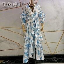 TWOTWINSTYLE طباعة فانوس كم الخامس الرقبة التفاف فستان شاح الخصر غير المتماثلة الكشكشة ماكسي فساتين النساء بوهو موضة خريف 2020