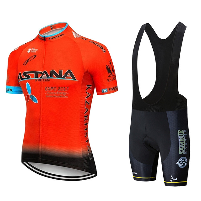 2019 ASTANA 팀 빨간색 짧은 소매 저지 자전거 의류 산악 자전거 세트 20D 젤 사이클링 저지 정장 ciclismo
