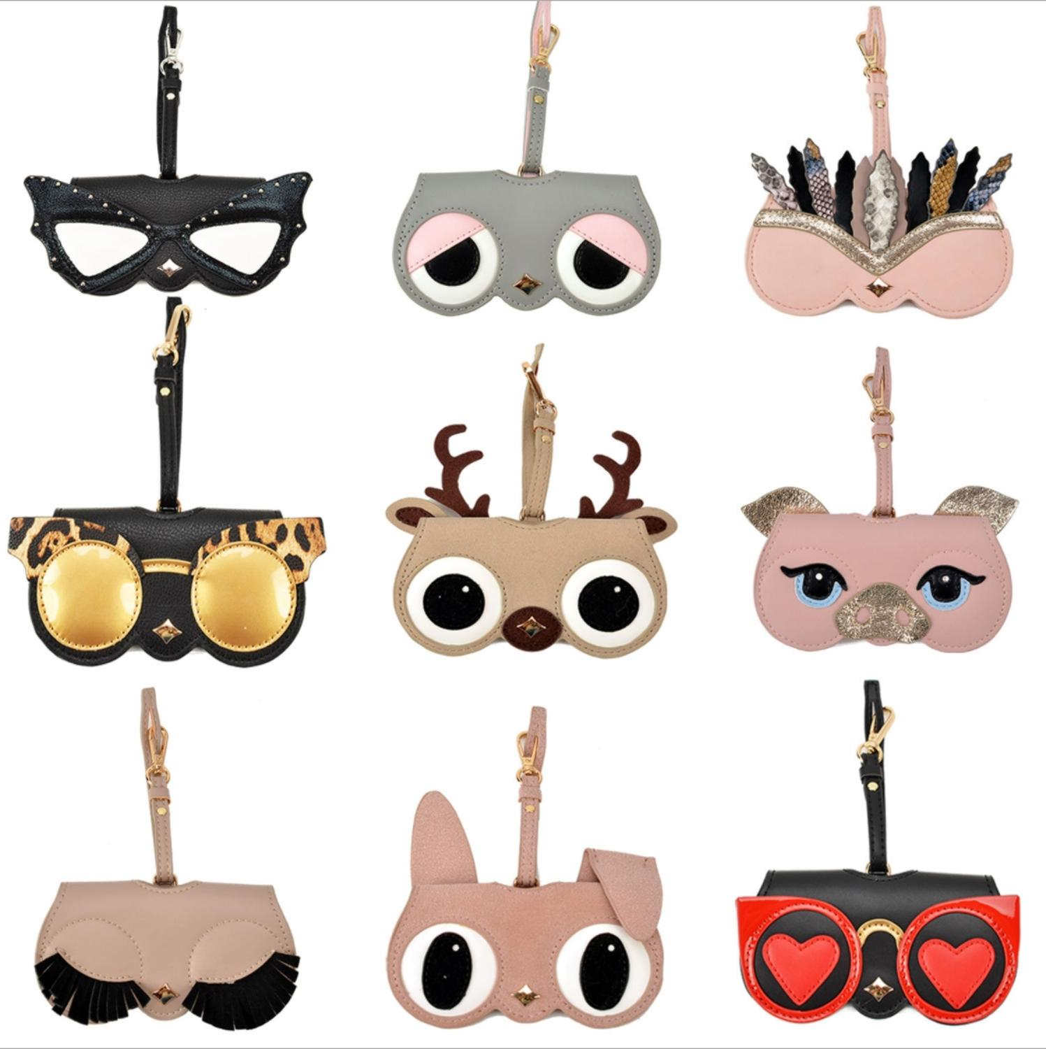 Cartoon High PU Leather Glasses Bag Multi-function Eyeglasses Case Women Sunglasses Storage Protection Cute Glasses Cover