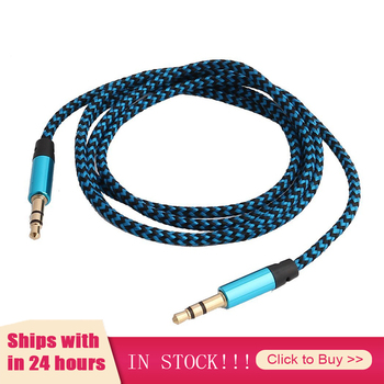 New 6 Colors Nylon Jack Aux Cable 3.5 Mm To 3.5mm Audio Cable Male To Male Gold Plug Car Aux Cord For Iphone Samsung Xiaomi image