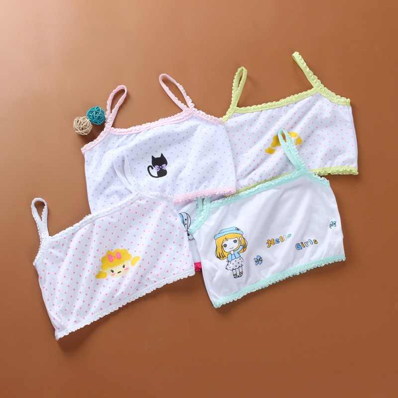 1PCS ילדי תינוק בנות קיץ הדפסת קריקטורה חלקה אימון חזייה בגיל ההתבגרות רך כותנה תחתוני אקראי צבע