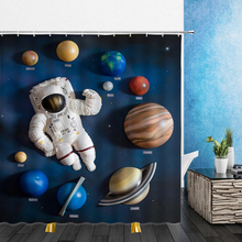 Shower Curtains Bathtub Bathroom-Decor Polyester Universe Waterproof Planet 3D Home Earth-Space-Ship