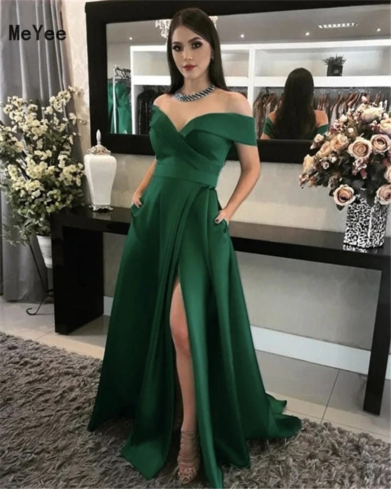 Dark Green Off Shoulder Prom Dresses With Pockets 2020 Side Split Lace-up Back Stain Formal Evening Party Gowns Vestido De Noche