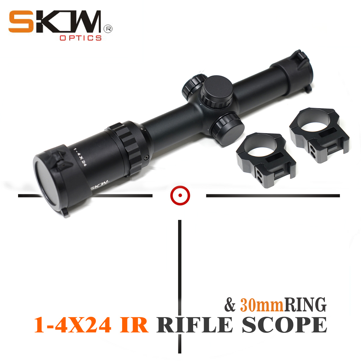 SKWoptics 1-4x24IR tactical rifle scope 30mm rings Hunting Tactical riflescope Sight .223 .308 ar15 scope AK image