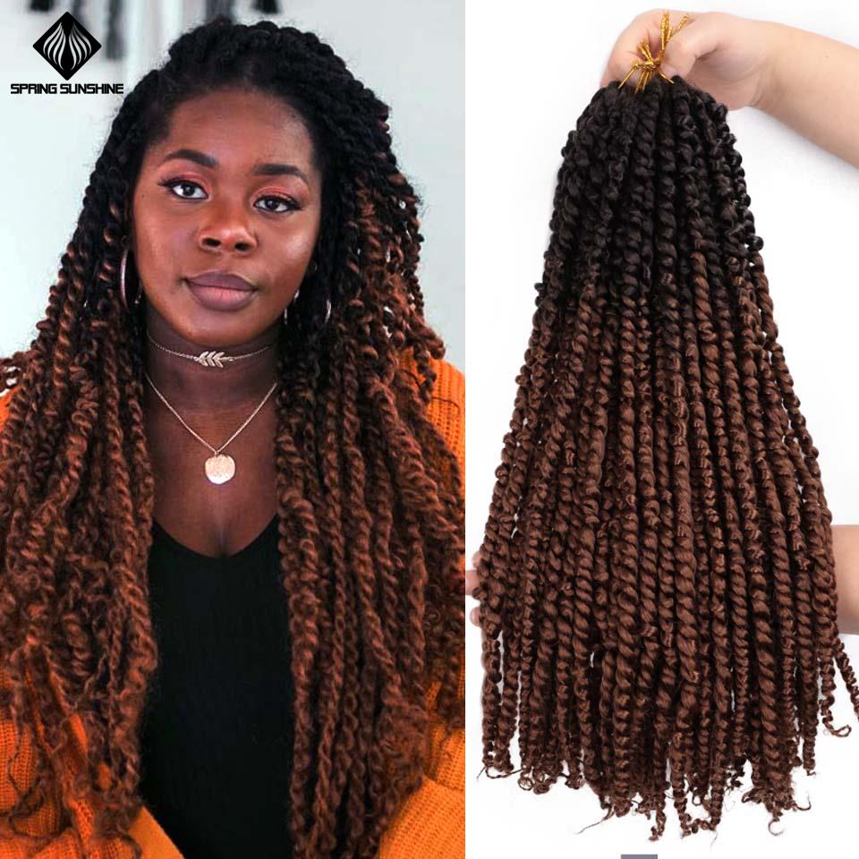 18inch Ombre Pre Twisted Passion Twist Hair Crochet Hair Synthetic Spring Pre Looped Fluffy Bomb Twists Braiding Hair