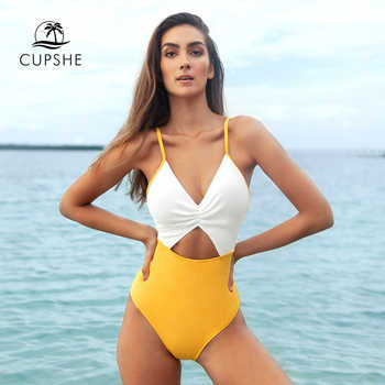 CUPSHE White and Yellow Cut Out V-neck One-Piece Swimsuit Sexy Backless Padded Women Monokini 2020 Beach Bathing Suit Swimwear