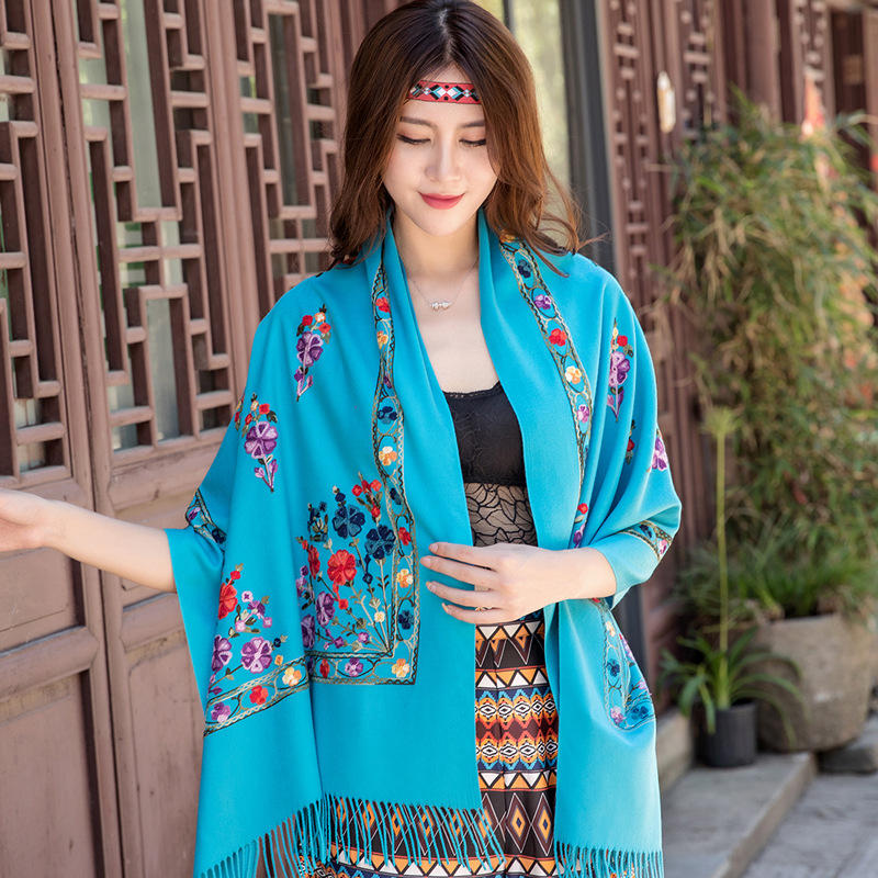 Ethnic Style Embroidery Long Wool Scarf Women Winter Hand-Embroidered Floral Cashmere Shawl Dual-Use Thickening Keep Warm Шарф