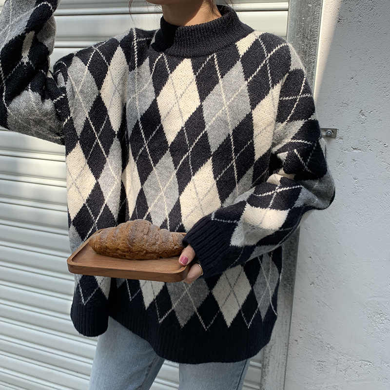 women's sweater Retro simple check knit sweater women's Korean casual crew neck loose version of the Turtleneck warm