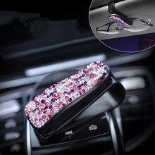Cases Eyeglasses-Holder Clip Car-Ornament Diamond-Decoration Rhinestone Auto-Fastener
